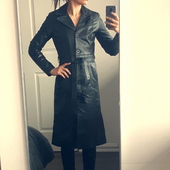 Genuine Lambskin leather trench coat